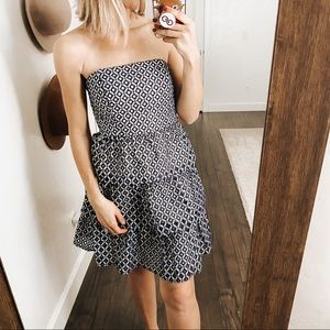 NWT WHBM | Strapless Tiered Ruffle Mini Dress